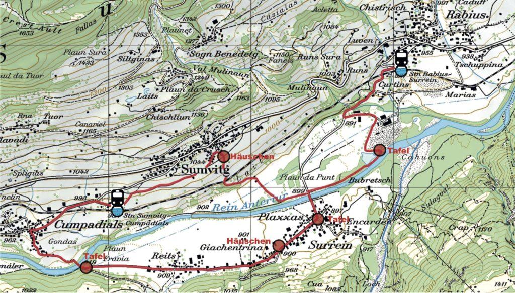 Übersicht Ereignisweg / Survesta senda d'eveniment, Karte: swisstopo